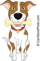 Cartoon funny dog with bone - vector illustration of Cartoon...
