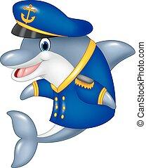 Cartoon funny dolphin - Vector illustration of Cartoon funny...