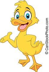 Cartoon funny duck presenting - Vector illustration of...