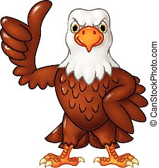 Cartoon funny eagle giving thumb up