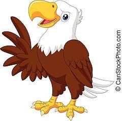 Cartoon funny eagle presenting