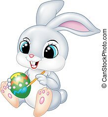 Cartoon funny Easter Bunny painting
