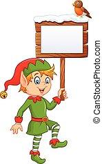 Cartoon funny elf boy holding blank