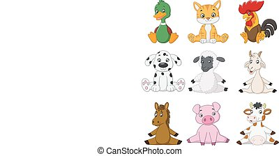 Cartoon funny farm animals