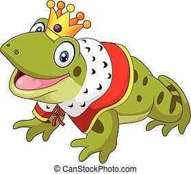 Cartoon funny frog king isolated