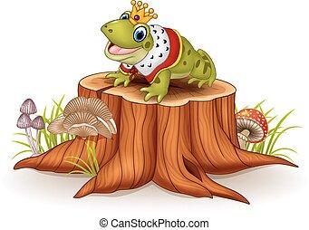 Cartoon funny frog king sitting