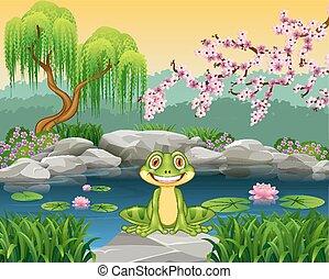 Cartoon funny frog sitting