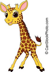 Cartoon funny giraffe mascot isolat