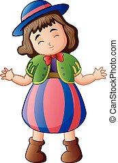 Cartoon funny girl in clown costume