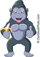 Cartoon funny gorilla holding a banana