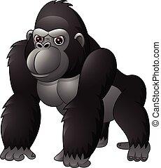 Cartoon funny gorilla isolated on white background