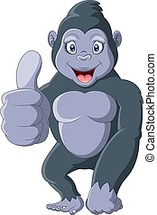 Cartoon funny gorilla with thumbs up