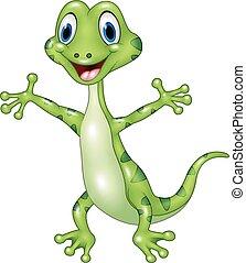 Cartoon funny green lizard posing