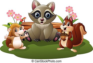 Cartoon funny hedgehog, raccoon