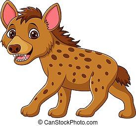 Cartoon funny hyena walking isolate