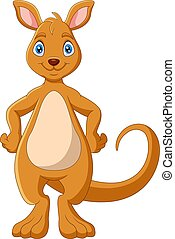 Cartoon funny Kangaroo is smiling