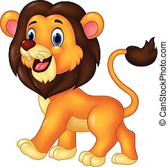 Cartoon funny lion walking isolated