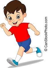 Cartoon funny little boy running