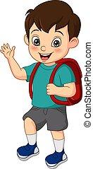 Cartoon funny little boy with school bag waving his hand