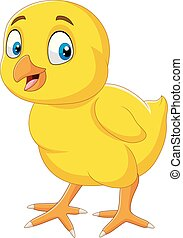 Cartoon funny little chick isolated on white background