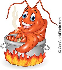Cartoon funny lobster being cooked