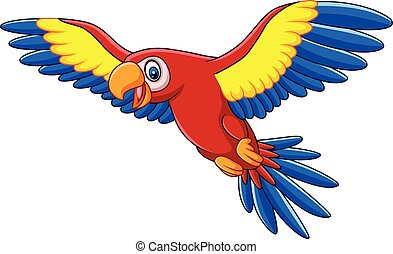 Cartoon funny macaw flying