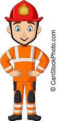 Cartoon funny male firefighter posing
