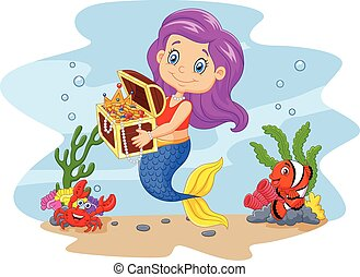 Vector illustration of Cartoon funny mermaid holding treasure chest with underwater background