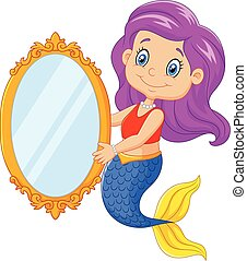 Cartoon funny mermaid swimming
