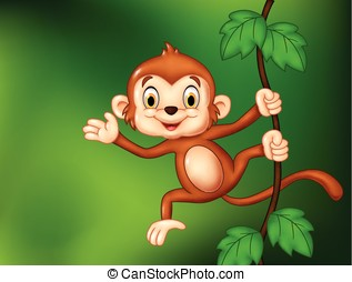 Cartoon funny monkey hanging - Vector illustration of...