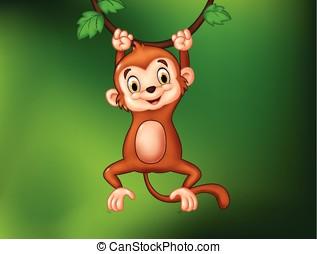 Cartoon funny monkey hanging