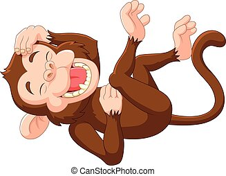 Vector illustration of Cartoon funny monkey laughing on white background