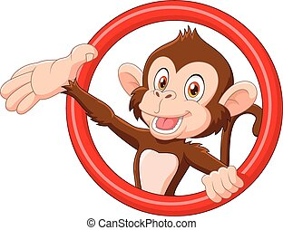 Cartoon funny monkey presenting
