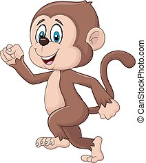 Cartoon funny monkey running - Vector illustration of...