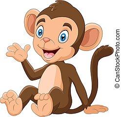 Cartoon funny monkey sitting with smile