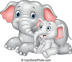 Vector illustration of Cartoon funny Mother and baby elephant isolated on white background