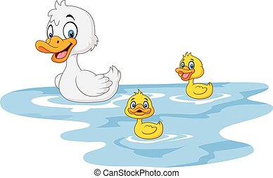 Cartoon funny mother duck with baby