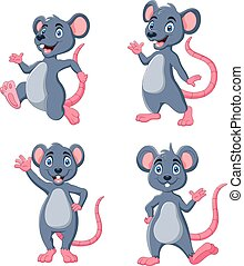 Vector illustration of Cartoon funny Mouse waving collection set