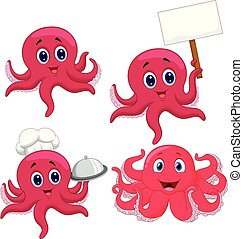 Cartoon funny octopus collection set