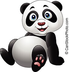 Cartoon funny panda sitting isolated on white background