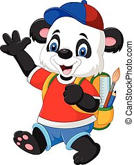 Cartoon funny panda with backpack