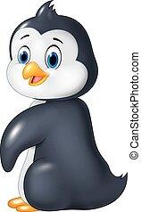 Cartoon funny penguin isolated