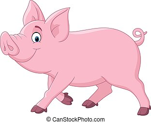 Cartoon funny pig - Vector illustration of Cartoon funny pig