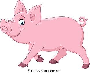 Cartoon funny pig - Vector illustration of Cartoon funny pig