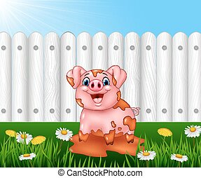 Cartoon funny pig playing