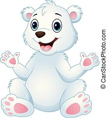 Cartoon funny polar bear sitting