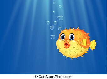 Cartoon funny puffer fish swimming