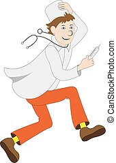 Vector illustration of cartoon funny running doctor