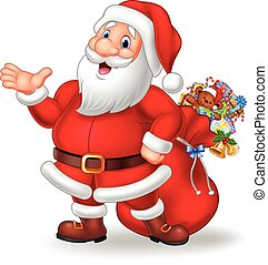 Cartoon funny santa presenting - Vector illustration of...