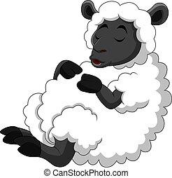 Cartoon funny sheep a sleeping